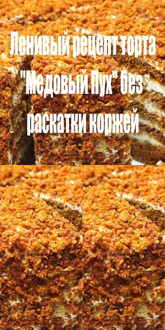Ленивый рецепт торта «Медовый пух» без раскатки коржей
